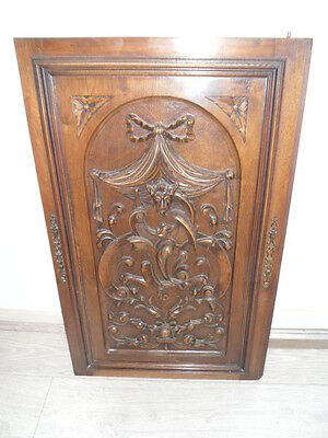 Antique French Hand Carved Oak Wood Door Panel -  lion figure  19 th
