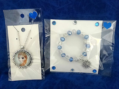 Frozen Necklace ( Anna ) And Bracelet With Snowflake Charm