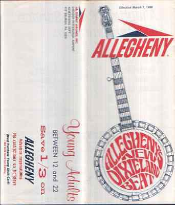Allegheny Airlines Timetable March 1968