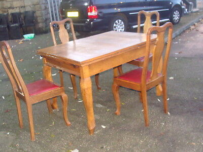 oak extending drawleaf dining table with 4 queen anne leather chairs antique