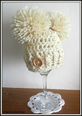 Crochet  little pompom hat photo prop gift baby shower @