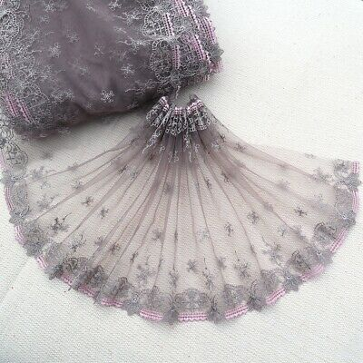 "7""*1Y Embroidered Tulle Lace Trim~White+Light Pink+Blue+Beige~Daisy Princess~"