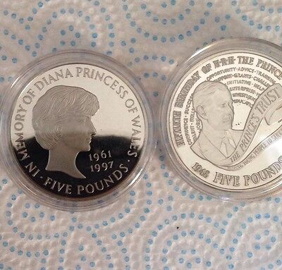 1998 & 1999 PROOF £5 Five Pound Coin Set UNC Uncirculated BUNC Charles Diana