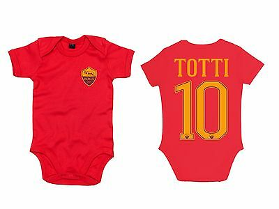 Body Neonato Baby Roma 16-17 Totti Bodysuit Infant Baby Newborn Name Rosso