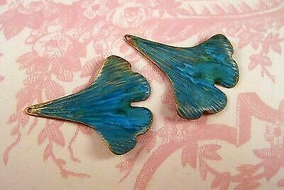 Large Verdigris Patina Gingko Leaves Stampings (2) - VPSG4158H