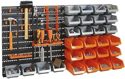 Workshop Tool Storage Bin And Hook Set With 44 Pieces Wall Mounted Organiser