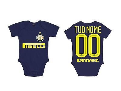 BODY NEONATO BABY INTER 16-17 TUO NOME BODYSUIT INFANT NEWBORN NAME blue