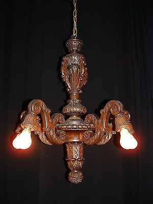 Antique French carved wood chandelier late 1800's 5 arms