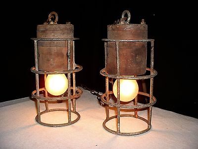 Vintage pair iron wood industrial chandelier lamps from France