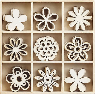 Box of 45 Assorted Mini Wooden FLOWER Shapes Craft Embellishments