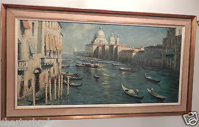 Large Impressionist Mid 20C Framed Oil On Canvas Grand Canal Venice Signed Lanza