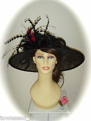 """Gwyther Snoxell 19"""" Black/Pink Hat for Races Weddings Ladies Formal"""