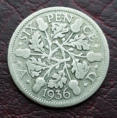 (R12) Uk British 1936 George V Silver 'lucky' Sixpence Coin