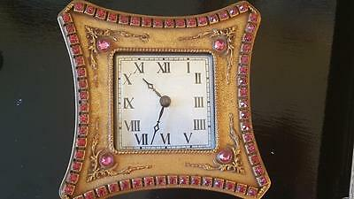 Ultra Rare Antique Pink Jeweled Empire Art Gold Vanity Clock WORKS!! Excellent
