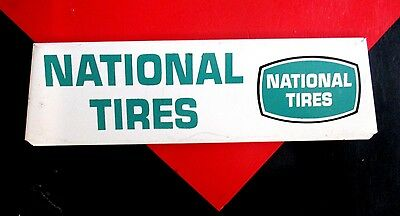"""Vintage Tire Rack Advertising Sign NATIONAL TIRES 12""""x 3"""" Gas Oil Station"""