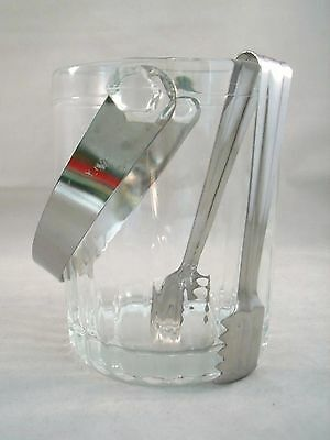 SMALL ICE BUCKET Vintage CLEAR GLASS w Stainless Handle & Tongs Heavy From Italy