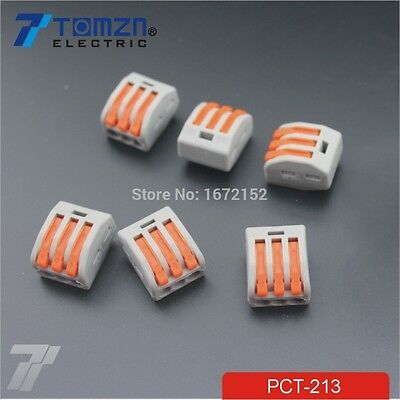 100Pcs 3 Pin Universal compact wire wiring connector conductor terminal block