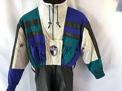 Vtg Head Ski Suit Womens 6 Petite Multi-Color Onesie Snowsuit Retro Stirrups