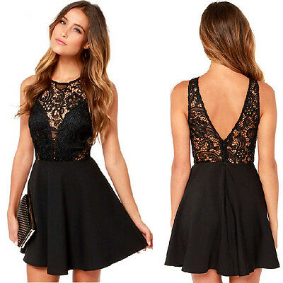 Casual Summer black Cocktail Party Evening Sleeveless Lace Short Mini Dress
