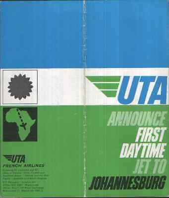 UTA  FRENCH AIRLINES  1960s  DC-8  LONDON - JOHANNESBURG TIMETABLE (undated)