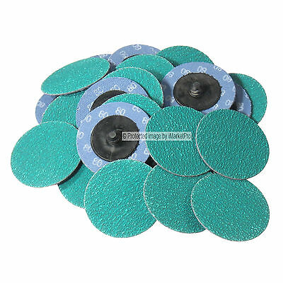 """25Pc 2"""" 80 Grit Green Zirconia Roloc Type Roll On Lock Sanding Disc Made in USA"""
