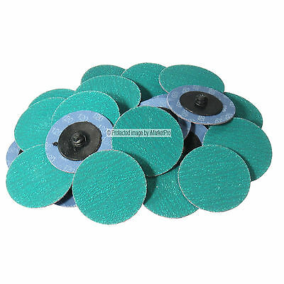 """25Pc 3/"""" 24 Grit Green Zirconia Roloc Type Roll On Lock Sanding Disc Made in USA"""