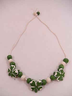 Handpainted Ceramic St. Patrick's Day Four 4 Leaf Clover Necklace Jewelry Signed