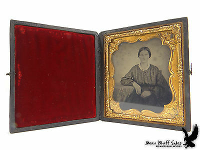 Antique Ambrotype Woman Floral Print Blouse 1/6 Plate Lovely Image