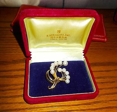 Vintage Estate 14k YG and Mikimoto Akoya Pearl Brooch / Pin  $1500 DISCOUNT 5day