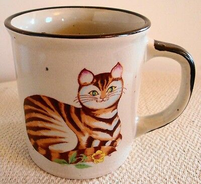 Vintage Tabby Cat Stoneware Mug Cup made in Japan