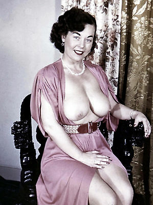 1950s Pinup in pink dress with large breasts exposed 8 x 10 Photograph