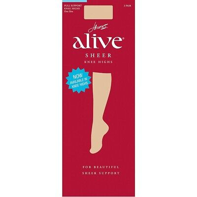 7913f795d 2-Pack Hanes Alive Full Support Sheer Knee Highs - 4 COLORS - ONE SIZE