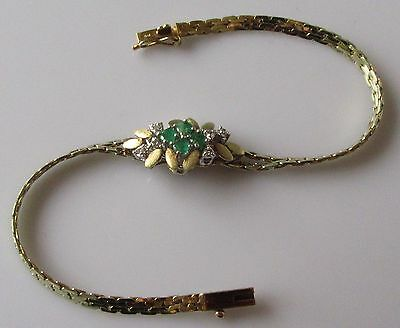 Secondhand 14ct Yellow Gold Emerald Diamond Flower Cluster Bracelet 6 1/4inches