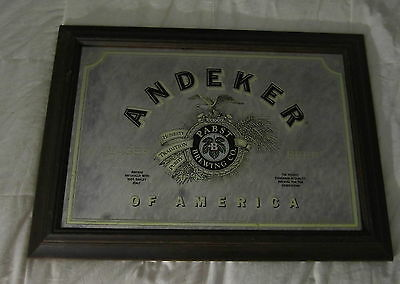 Andeker Lager Beer Mirror With Brown Wooden Frame, Pabst Brewing Company, Nice