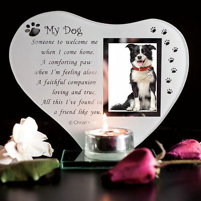 Pets Inspirational poem candle & photo holder glass memorial plaque Cellini Gift