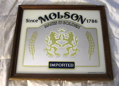 Molson Imported Beer Mirror With Brown Wooden Frame, Molson Makes It Golden!!