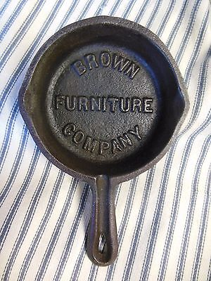 Vintage Ad Cast Iron Skillet BROWN FURNITURE COMPANY Ashtray Antique