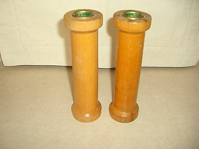"Two (2) Antique Wooden Industrial Thread Or Yarn Spools, 7"", Thread Mill Spool"