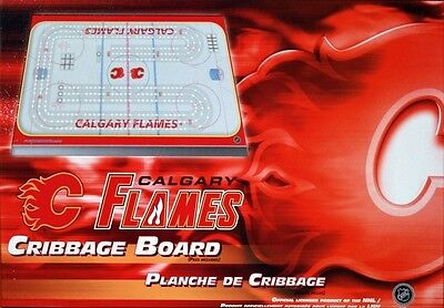 Calgary Flames Cribbage Game ~ Rink Shaped Cribbage Free Tml Team Cards