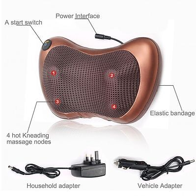 Deep Kneading Electric Massage Pillow Heat Relieve Pain Back Shoulder Muscle Nec