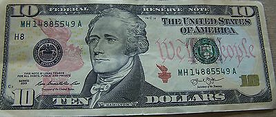 2013 Circulated $10.00 Dollar Federal Reserve Note, New York