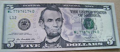 2013 Uncirculated $5.00 Dollar Federal Reserve Note