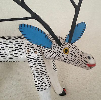 Magnificent Deer - Vintage Oaxacan Alebrije Wood Carving by Jose Hernandez