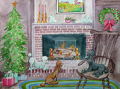 Folk Art Primitive Naive PRINT~ CHRISTMASTIME POODLES~11 X 14 IN~DOG ART