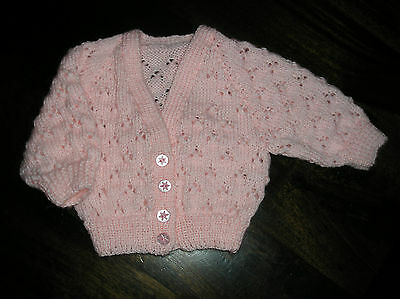 Premmie/ Newborn/ Reborn Baby's Pink Lace Cardigan. Size 0000. Gorgeous.