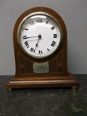 Swiss Bow Top 8 Day Mantle Clock with Marquetry Detailing