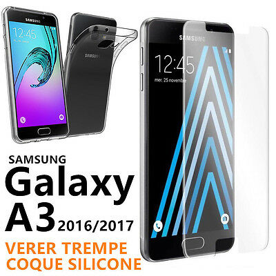 Coque Housse Etui TPU + Verre Trempé Film Protection SAMSUNG GALAXY A3 2016,2017