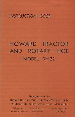 Howard DH22 tractor and rotary hoe instructions book (quality reprint)