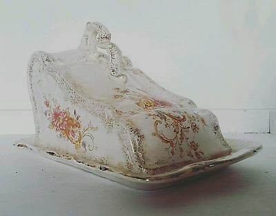 ANTIQUE Large Victorian Floral Cheese Plate/ Cheese Dish- Tableware- Decoration