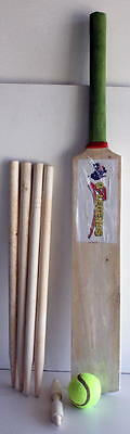 Kids Wooden Cricket Set Size 6 Bat Wickets Ball Bails Stumps Sport Toys New Xmas